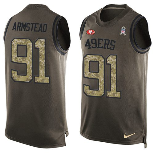 Nike 49ers #91 Arik Armstead Green Men's Stitched NFL Limited Salute To Service Tank Top Jersey