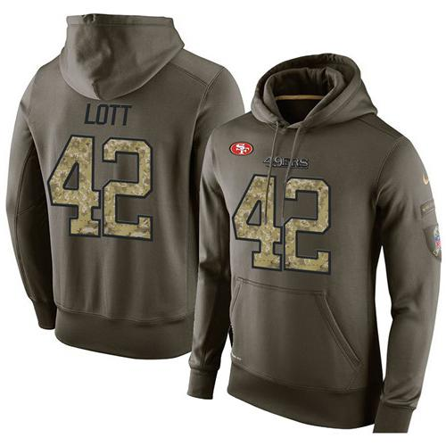 NFL Men's Nike San Francisco 49ers #42 Ronnie Lott Stitched Green Olive Salute To Service KO Performance Hoodie