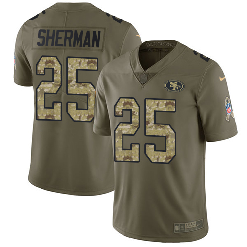 Nike 49ers #25 Richard Sherman Olive/Camo Men's Stitched NFL Limited Salute To Service Jersey