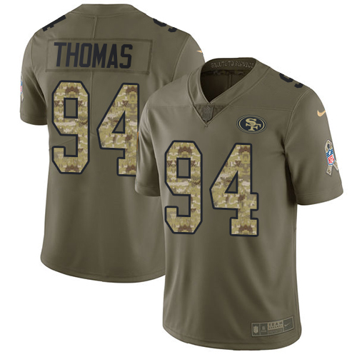 Nike 49ers #94 Solomon Thomas Olive/Camo Men's Stitched NFL Limited Salute To Service Jersey