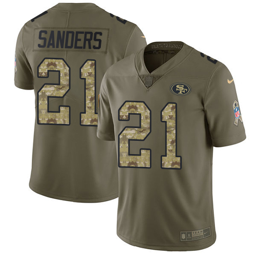 Nike 49ers #21 Deion Sanders Olive/Camo Men's Stitched NFL Limited Salute To Service Jersey