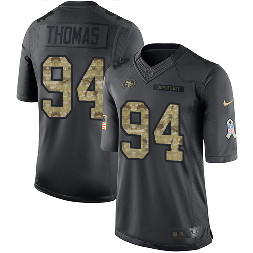 Nike 49ers #94 Solomon Thomas Black Men's Stitched NFL Limited 2016 Salute to Service Jersey