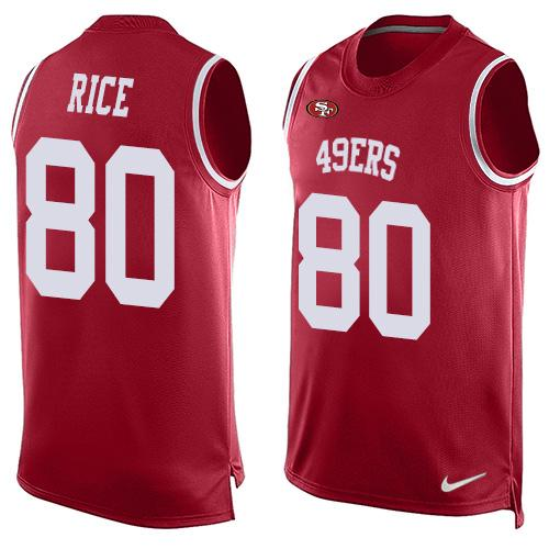 Nike 49ers #80 Jerry Rice Red Team Color Men's Stitched NFL Limited Tank Top Jersey