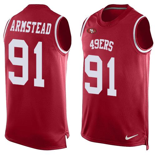 Nike 49ers #91 Arik Armstead Red Team Color Men's Stitched NFL Limited Tank Top Jersey