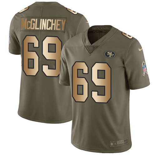 Nike 49ers #69 Mike McGlinchey Olive/Gold Men's Stitched NFL Limited Salute To Service Jersey