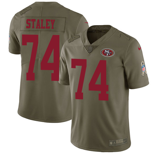 Nike 49ers #74 Joe Staley Olive Men's Stitched NFL Limited Salute to Service Jersey
