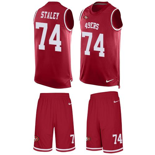 Nike 49ers #74 Joe Staley Red Team Color Men's Stitched NFL Limited Tank Top Suit Jersey