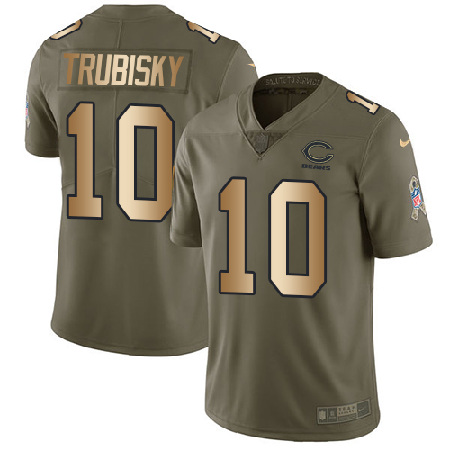 Nike Bears #10 Mitchell Trubisky Olive/Gold Men's Stitched NFL Limited Salute To Service Jersey