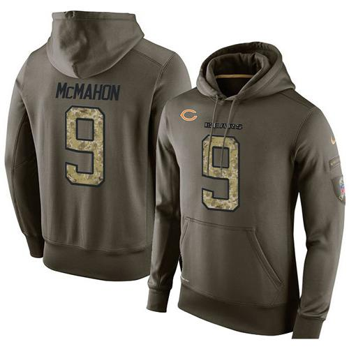 NFL Men's Nike Chicago Bears #9 Jim McMahon Stitched Green Olive Salute To Service KO Performance Hoodie