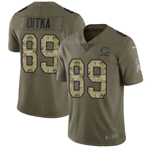 Nike Bears #89 Mike Ditka Olive/Camo Men's Stitched NFL Limited Salute To Service Jersey