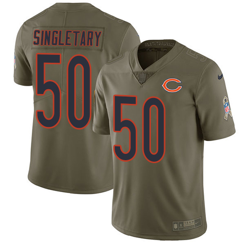 Nike Bears #50 Mike Singletary Olive Men's Stitched NFL Limited Salute To Service Jersey