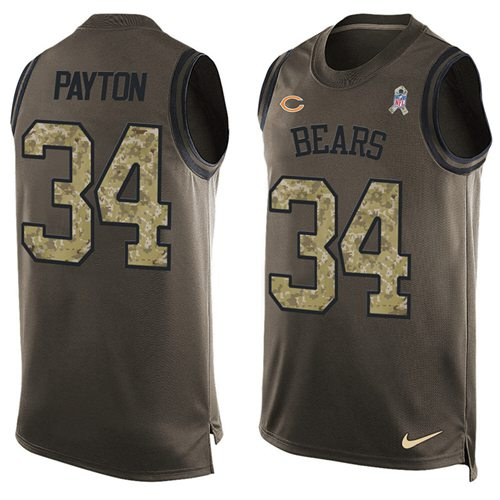 Nike Bears #34 Walter Payton Green Men's Stitched NFL Limited Salute To Service Tank Top Jersey