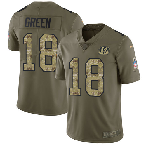 Nike Bengals #18 A.J. Green Olive/Camo Men's Stitched NFL Limited Salute To Service Jersey