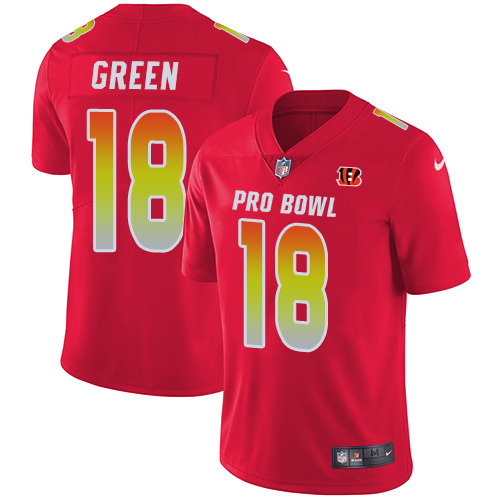 Nike Bengals #18 A.J. Green Red Men's Stitched NFL Limited AFC 2018 Pro Bowl Jersey