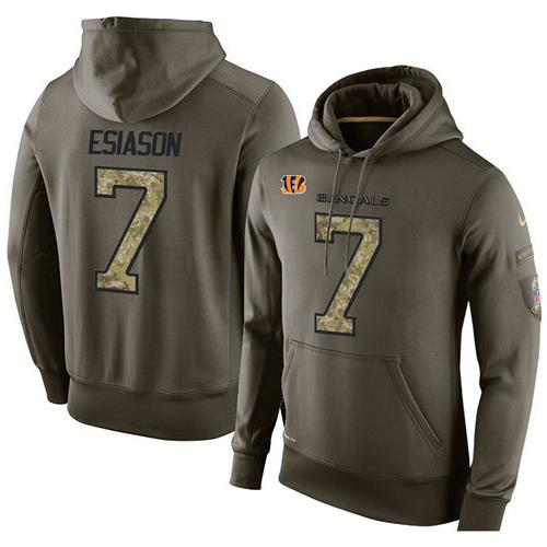 NFL Men's Nike Cincinnati Bengals #7 Boomer Esiason Stitched Green Olive Salute To Service KO Performance Hoodie