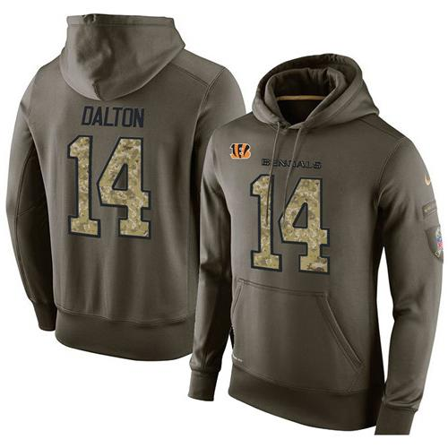NFL Men's Nike Cincinnati Bengals #14 Andy Dalton Stitched Green Olive Salute To Service KO Performance Hoodie