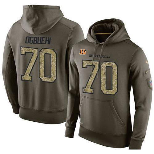 NFL Men's Nike Cincinnati Bengals #70 Cedric Ogbuehi Stitched Green Olive Salute To Service KO Performance Hoodie