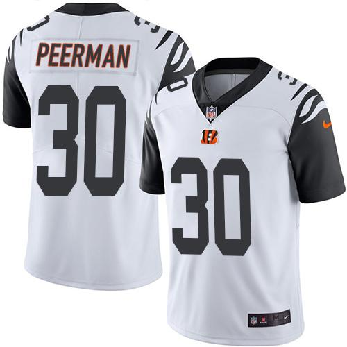 Nike Bengals #30 Cedric Peerman White Men's Stitched NFL Limited Rush Jersey