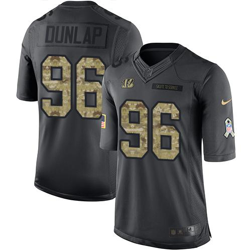 Nike Bengals #96 Carlos Dunlap Black Men's Stitched NFL Limited 2016 Salute to Service Jersey