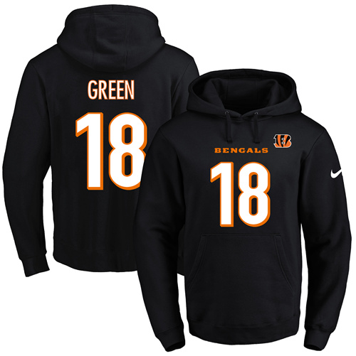 Nike Bengals #18 A.J. Green Black Name & Number Pullover NFL Hoodie