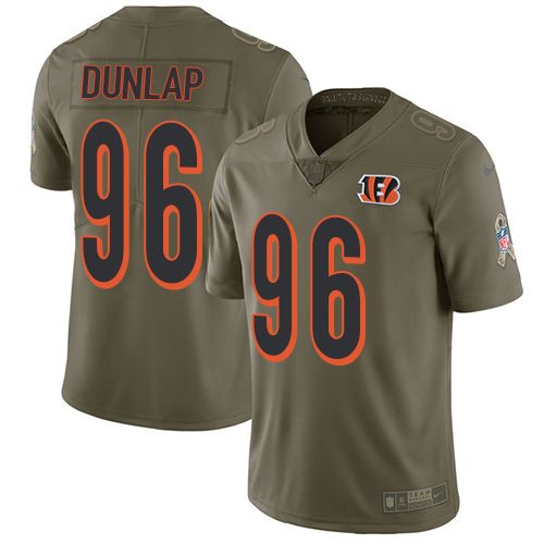 Nike Bengals #96 Carlos Dunlap Olive Men's Stitched NFL Limited Salute To Service Jersey