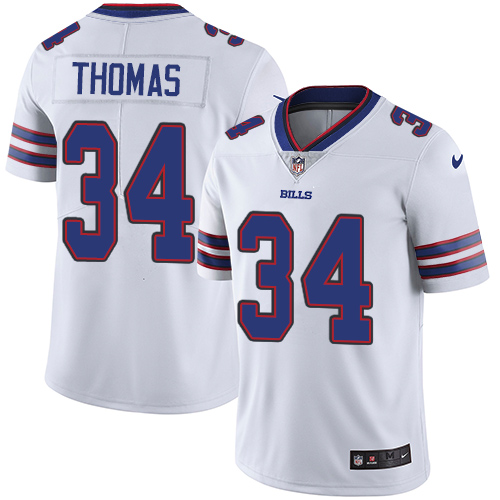 Nike Bills #34 Thurman Thomas White Men's Stitched NFL Vapor Untouchable Limited Jersey