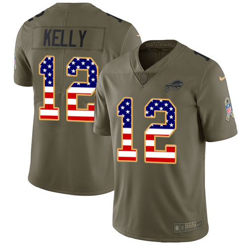 Nike Bills #12 Jim Kelly Olive/USA Flag Men's Stitched NFL Limited Salute To Service Jersey