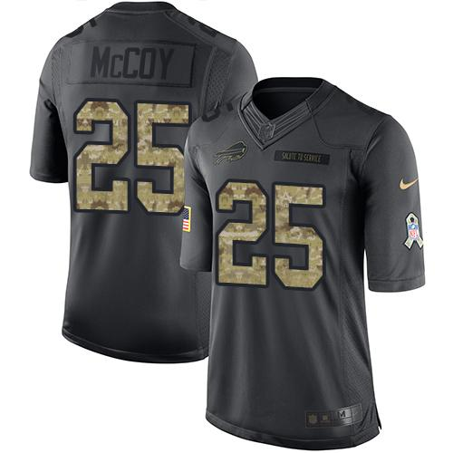 Nike Bills #25 LeSean McCoy Black Men's Stitched NFL Limited 2016 Salute To Service Jersey