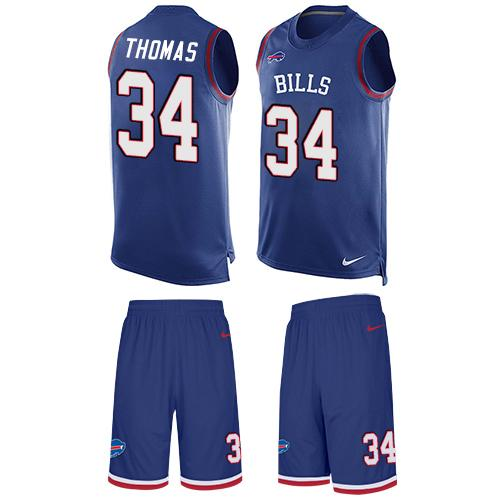 Nike Bills #34 Thurman Thomas Royal Blue Team Color Men's Stitched NFL Limited Tank Top Suit Jersey