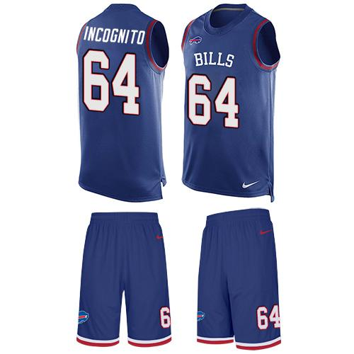 Nike Bills #64 Richie Incognito Royal Blue Team Color Men's Stitched NFL Limited Tank Top Suit Jersey