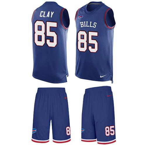 Nike Bills #85 Charles Clay Royal Blue Team Color Men's Stitched NFL Limited Tank Top Suit Jersey