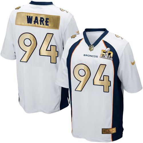 Nike Broncos #94 DeMarcus Ware White Men's Stitched NFL Game Super Bowl 50 Collection Jersey