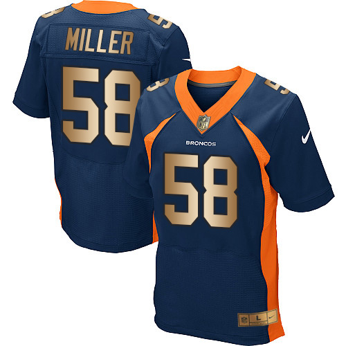 Nike Broncos #58 Von Miller Navy Blue Alternate Men's Stitched NFL New Elite Gold Jersey