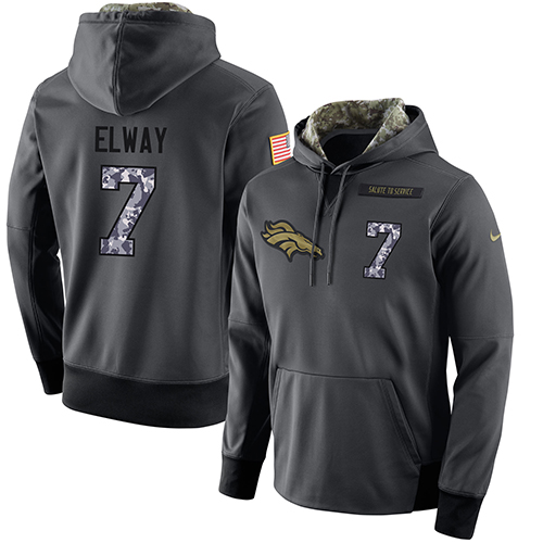 NFL Men's Nike Denver Broncos #7 John Elway Stitched Black Anthracite Salute to Service Player Performance Hoodie