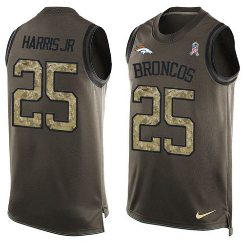 Nike Broncos #25 Chris Harris Jr Green Men's Stitched NFL Limited Salute To Service Tank Top Jersey