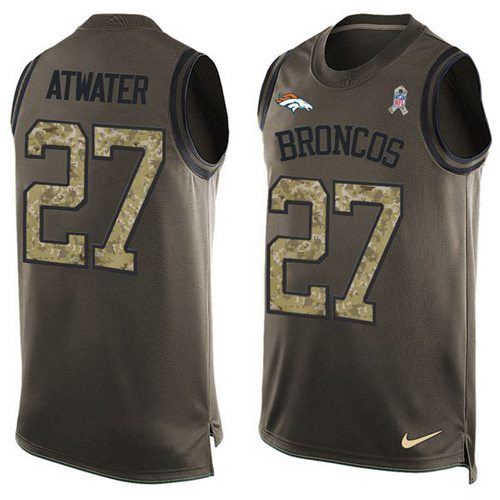 Nike Broncos #27 Steve Atwater Green Men's Stitched NFL Limited Salute To Service Tank Top Jersey