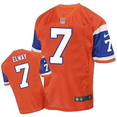 Nike Broncos #7 John Elway Orange Throwback Men's Stitched NFL Elite Jersey