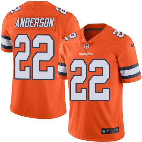 Nike Broncos #22 C.J. Anderson Orange Men's Stitched NFL Limited Rush Jersey