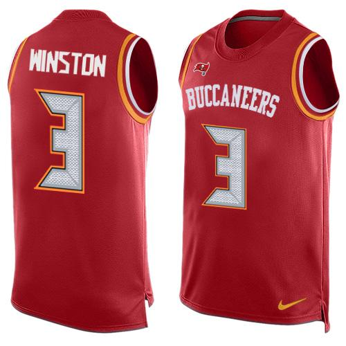 Nike Buccaneers #3 Jameis Winston Red Team Color Men's Stitched NFL Limited Tank Top Jersey