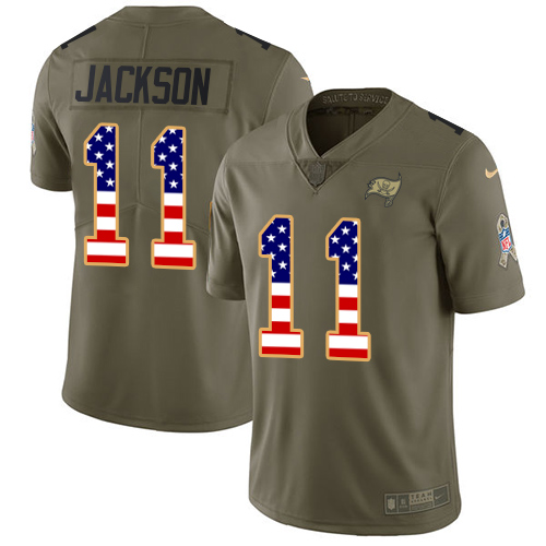 Nike Buccaneers #11 DeSean Jackson Olive/USA Flag Men's Stitched NFL Limited Salute To Service Jersey