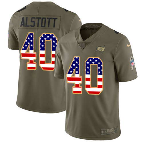 Nike Buccaneers #40 Mike Alstott Olive/USA Flag Men's Stitched NFL Limited Salute To Service Jersey