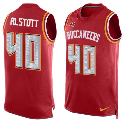 Nike Buccaneers #40 Mike Alstott Red Team Color Men's Stitched NFL Limited Tank Top Jersey