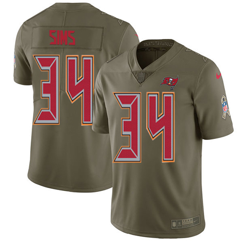 Nike Buccaneers #34 Charles Sims Olive Men's Stitched NFL Limited Salute to Service Jersey