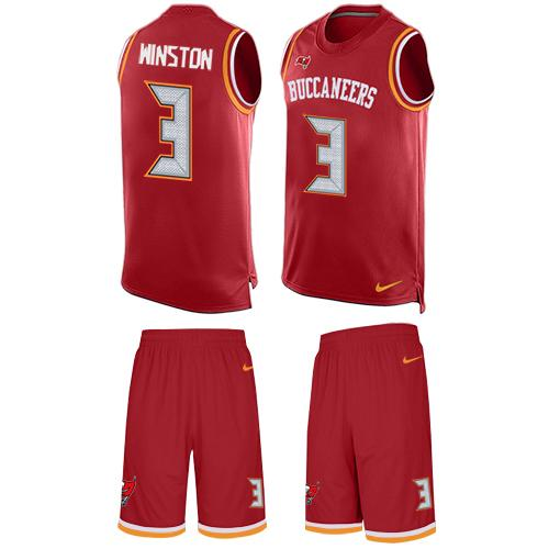 Nike Buccaneers #3 Jameis Winston Red Team Color Men's Stitched NFL Limited Tank Top Suit Jersey