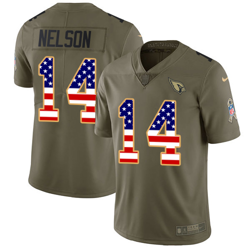 Nike Cardinals #14 J.J. Nelson Olive/USA Flag Men's Stitched NFL Limited Salute to Service Jersey