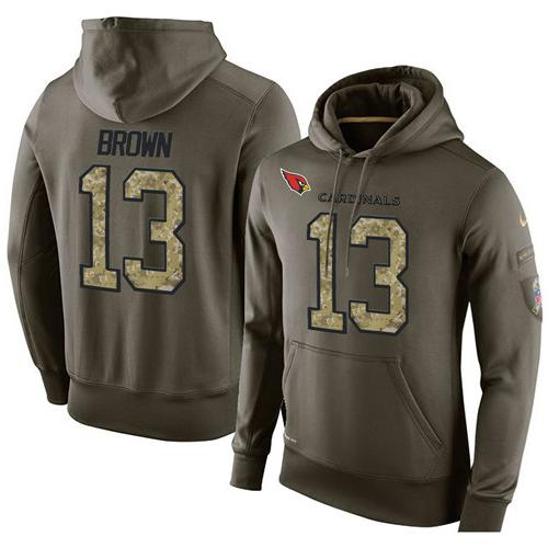 NFL Men's Nike Arizona Cardinals #13 Jaron Brown Stitched Green Olive Salute To Service KO Performance Hoodie