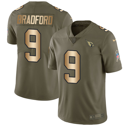 Nike Cardinals #9 Sam Bradford Olive/Gold Men's Stitched NFL Limited Salute to Service Jersey