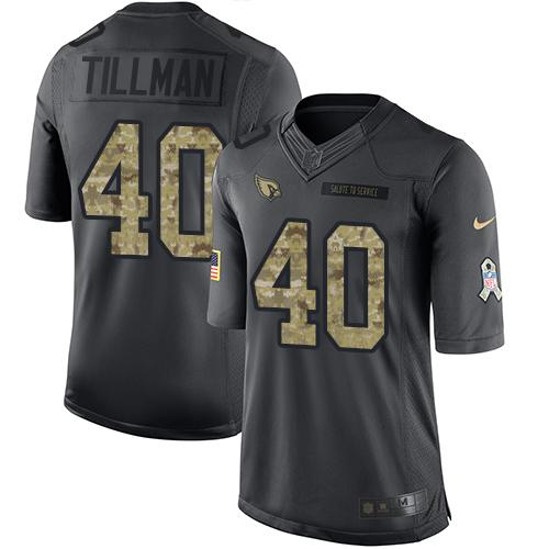 Nike Cardinals #40 Pat Tillman Black Men's Stitched NFL Limited 2016 Salute to Service Jersey
