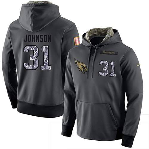 NFL Men's Nike Arizona Cardinals #31 David Johnson Stitched Black Anthracite Salute to Service Player Performance Hoodie