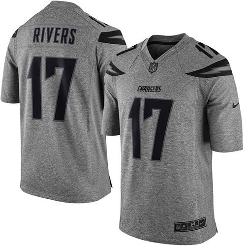 Nike Chargers #17 Philip Rivers Gray Men's Stitched NFL Limited Gridiron Gray Jersey